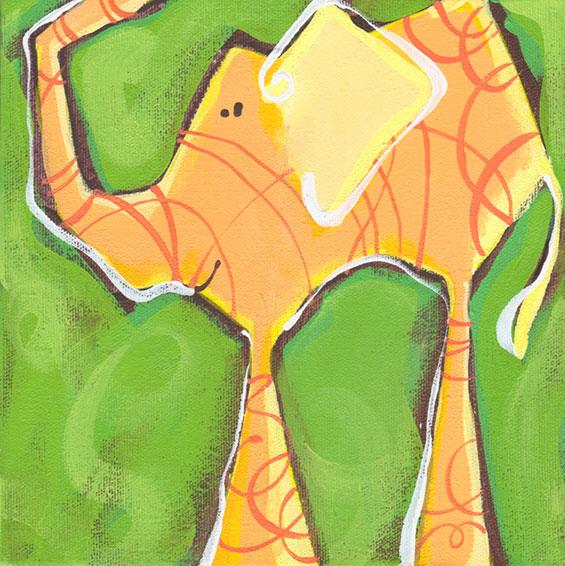an orange elephant….