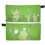 image description: green frog pencil case
