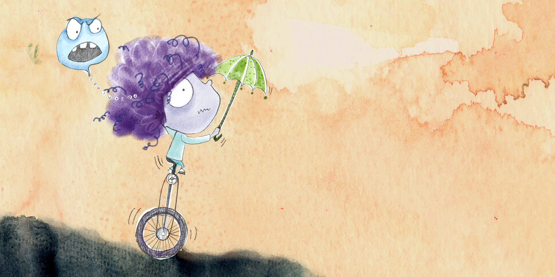 image description: purple kid unicycling