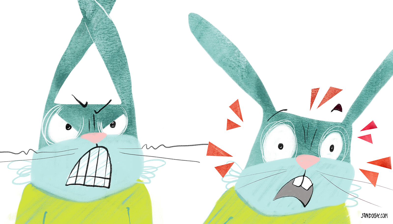 two green rabbits